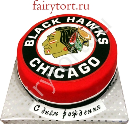 Торт для хоккеиста. Торт Chicago Black Hawks.